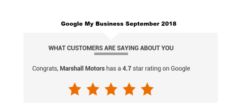 Marshall Motors has a 4.7 star rating on Google
